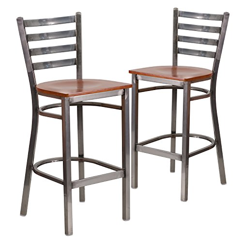 Back Wood Seat Stool (Flash Furniture 2 Pk. HERCULES Series Clear Coated Ladder Back Metal Restaurant Barstool - Cherry Wood Seat)