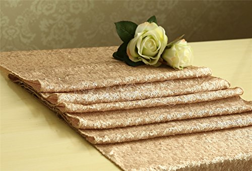 B-COOL champagne sequin tablecloth champagne Sequin Table Runner-14x120 Inch