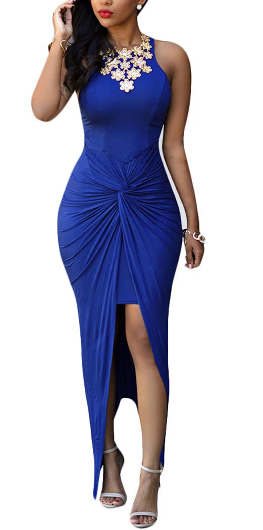 Oops Style Women's Knotted Front Slit Cocktail Dress Blue Large Blue