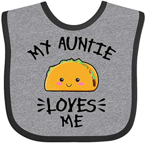 Inktastic My Auntie Loves Me with Taco Illustration Baby Bib Heather and Black