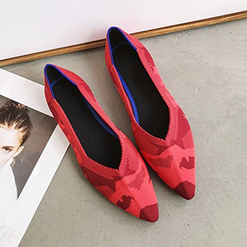 Five Shoes Fashionable KPHY And Gules Shoes Autumn Women'S Soft Pointed Shoes Sole Weave Red Flat Spring Thirty Fabric Tip Shallow AxUZq