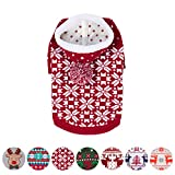 "Image of Blueberry Pet Let It Snow Classic Ugly Christmas Holiday Snowflake Pullover Hoodie Dog Sweater in Red and White, Back Length 10"", Pack of 1 Clothes for Dogs"