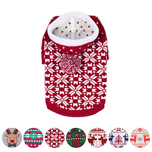 Blueberry Pet Let It Snow Classic Ugly Christmas Holiday Snowflake Pullover Hoodie Dog Sweater in Red and White, Back Length 20', Pack of 1 Clothes for Dogs