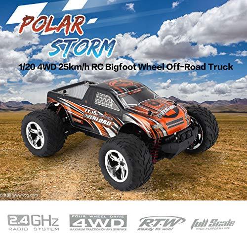 FY-15 1/20 4WD 25km / h RCビッグフットホイールオフロードトラック電気RCカーRT(カラー:オレンジブラック)