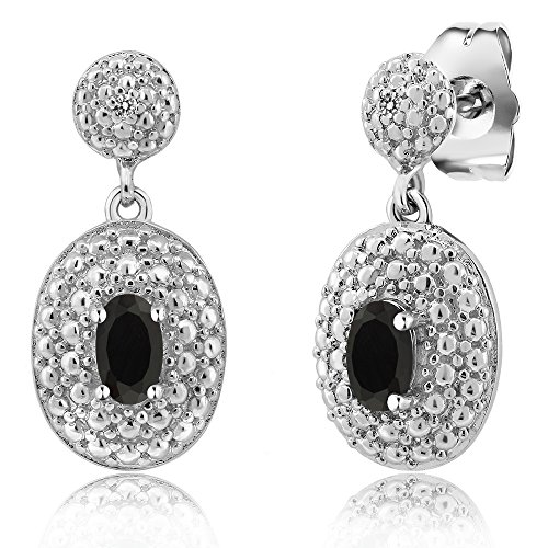 0.79 Ct Oval Black Onyx White Diamond Rhodium Plated Brass Earrings (Brass Ox Plated)