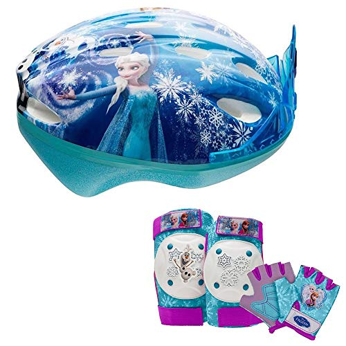 Disney Frozen Tiara Girls Skate / Bike Helmet, Pads & Gloves - 7 Piece Set