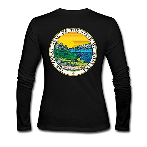 XHdo-4 Women's State Of Montana Long Sleeve Back Printed T Shirt Blouses For - Street Shopping State Chicago
