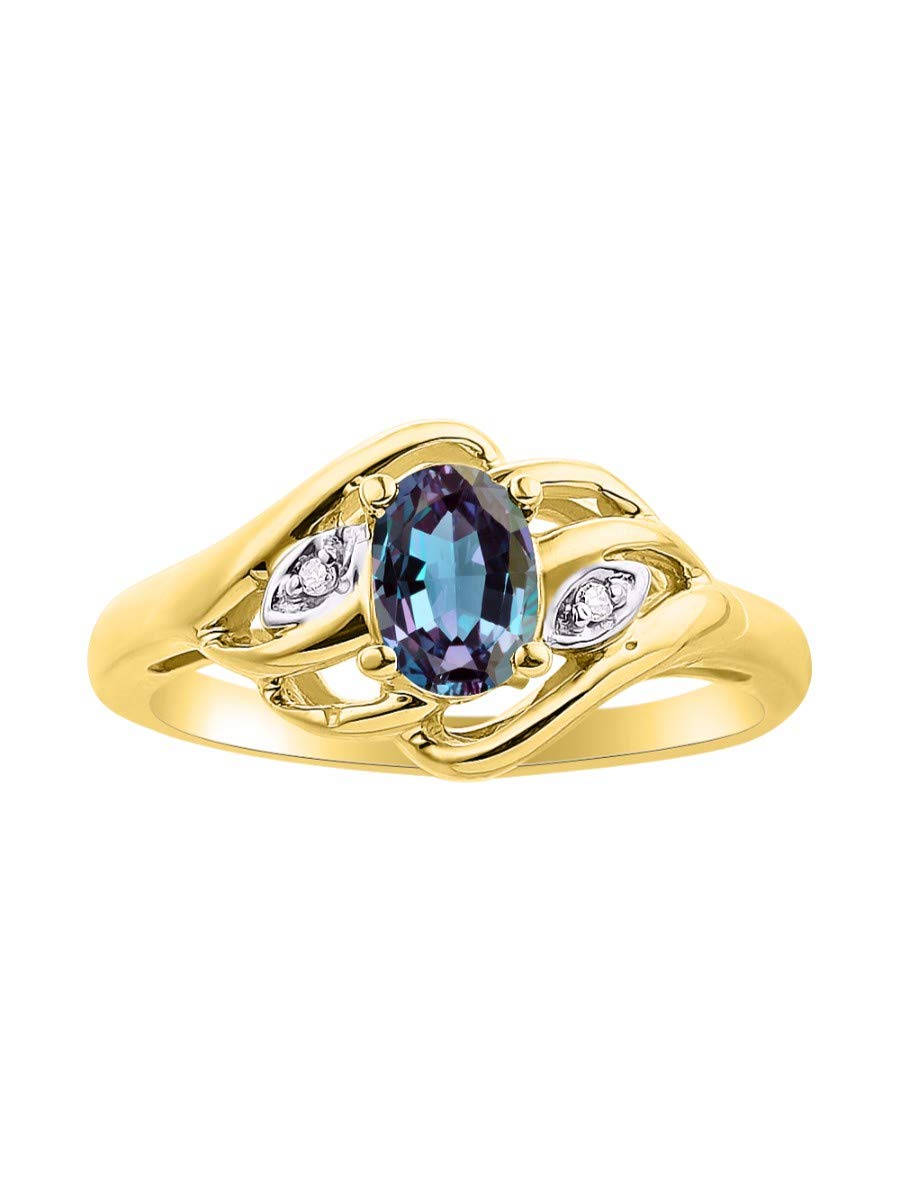 Diamond & Simulated Alexandrite/Mystic Topaz Ring Set In Yellow Gold Plated Silver .925