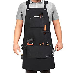 Housolution Tools Apron, Multipurpose Heavy Duty Waxed Canvas Waterproof Oil-resistant Work Apron with Tool Pockets for Woodworking Crafting Painting etc, Cross-Back Straps, Adjustable M to XXL, Black