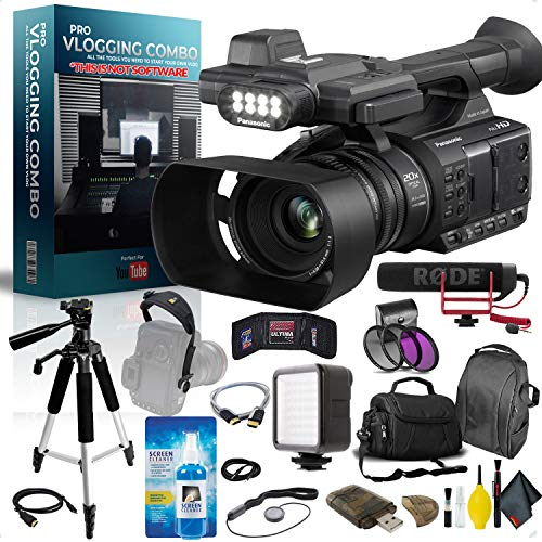 Panasonic AG-AC30 Full HD Camcorder with Touch Panel LCD Viewscreen and Built-in LED Light Pro Vlogger Combo
