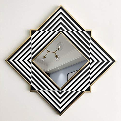 壁鏡、モダンな幾何学的装飾壁鏡、木枠、玄関鏡、浴室化粧鏡