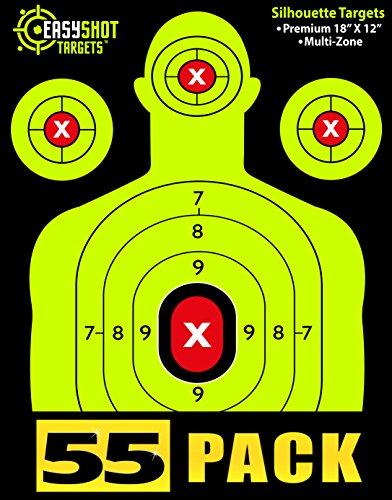 55-Pack Silhouette Shooting Targets by EasyShot - Bright and Colorful Fluorescent Green - Easy To See Shot Placement - Includes 150 Repair Stickers | Premium Size 18