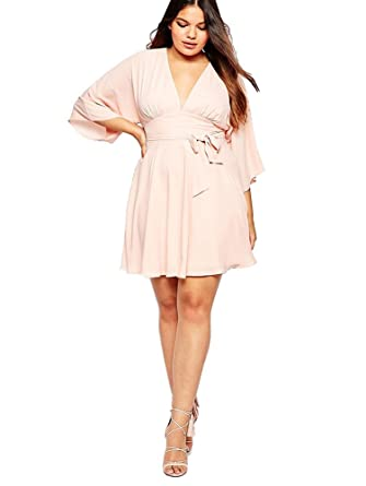 Justcosy Womens Pink Exclusive Plus Size Kimono Style Dress At