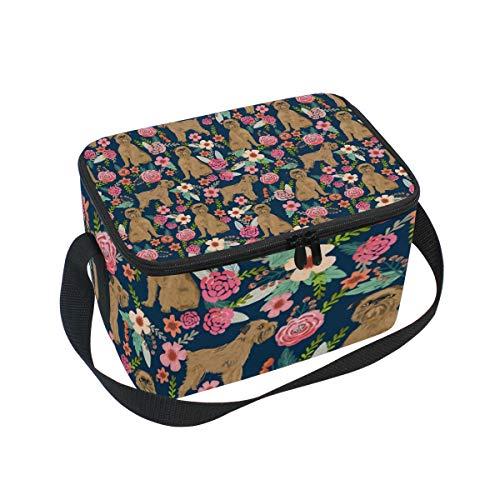 Lunch Bag Brussels Griffon Dog, Large Insulated Bento Cooler Box with Black Shoulder Strap for Men Women Kids, BaLin 10
