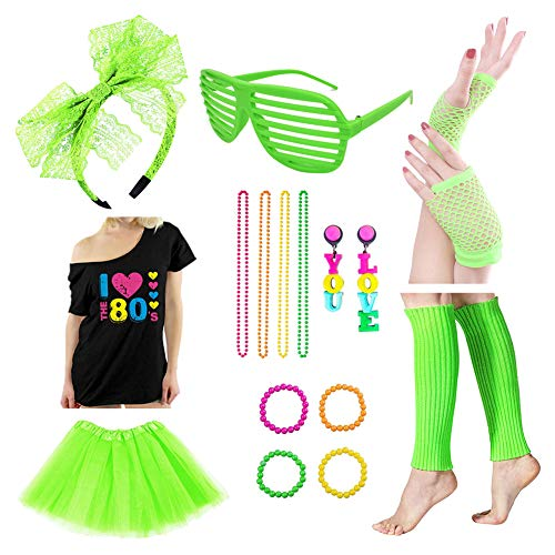 Icevog Womens Girls 80s Costume Accessories Set 90s Fancy Outfit for Disco Party Cute Tutu Skirt T-Shirt Headband Green -