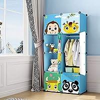 MAGINELS Children Wardrobe Dresser Portable Closet Bedroom Armoire Clothes Hanging Storage Rack Cube Organizer Large Blue Pink