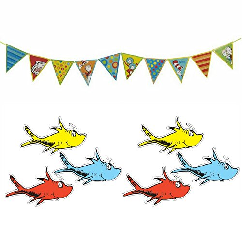 Dr Seuss Pennant Banner and One Fish, Two Fish Assorted Cutouts Value Pack