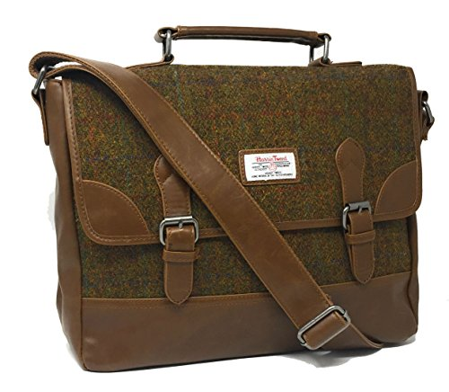 Ladies or Gents Genuine Harris Tweed Satchel Briefcase in Choice of Colour (Tan) - Mans Harris Tweed