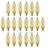 Globe Electric 25W Vintage Edison CA10 Flame Tip Incandescent Filament Light Bulb, 20-Pack, E12 Base, 105 Lumens, 84308