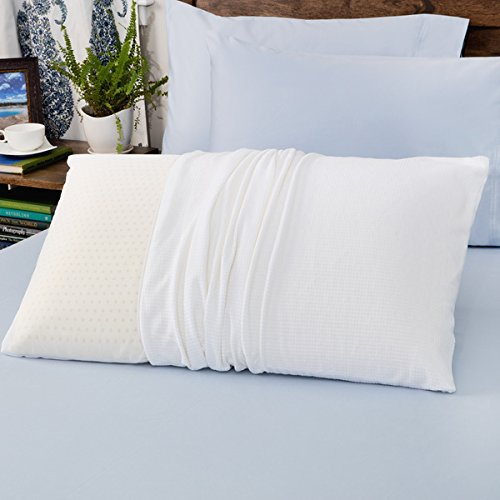Authentic Talatech 230 Thread Count Latex Foam Medium Density Pillow Queen Antimicrobial Hypoallergenic Sleep Well Relax Rest Back Neck Pain 100 Percent Latex Fill Knife Edge Spot Clean -