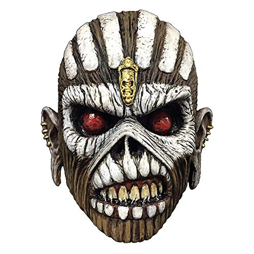 Iron Maiden Eddie Book of Souls Men's Latex Costume Overhead Mask + Coolie Black ()