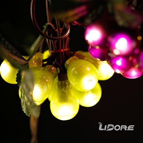 LIDORE 100 LED Purple&Green Grape String Lights. Grapevine Lights with 10 Cluster-UL listed (Tree Burgundy Lights Christmas)