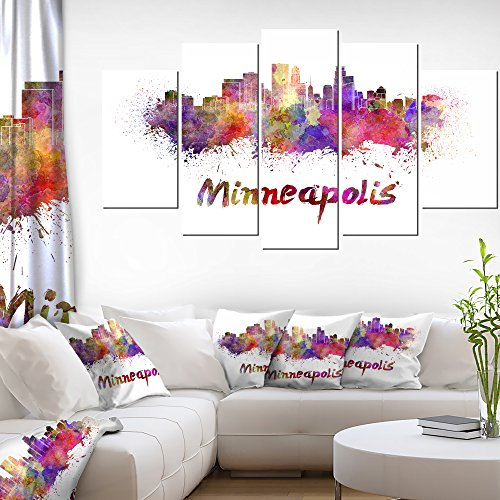Designart Minneapolis Skyline-Cityscape Canvas Art Print-60x32-5 Piece, 60x32-5 Panels Diamond Shape, Pink