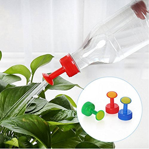 Chris.W Bottle Cap Sprinkler Set, 6 Pack Plastic 28mm Caliber Bottle Watering Spout for Indoor Seedlings, Bonsai, Vegetables(Multi-color)