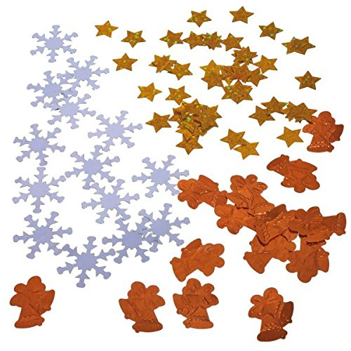 (Susy Card 11428240Christmas Litter x 310g in Poly Bag with Header-Copper/: Stars, Snowflake, Bells Gold/Silver)