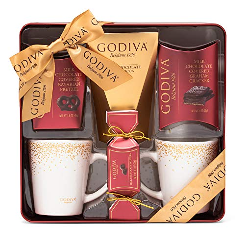 Godiva Cocoa and Treats for Two Deluxe Gift Set | Contains 2 Reusable Mugs, Milk Chocolate Cocoa, Milk Chocolate Graham Crackers, Milk Chocolate Bavarian Pretzel & Milk Chocolate Truffles -