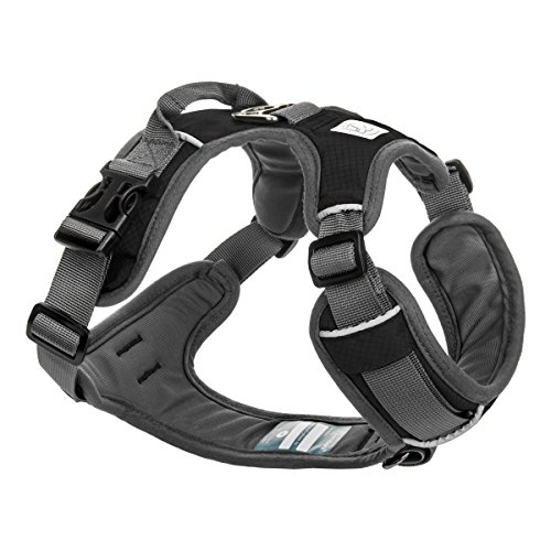 Embark Adventure Dog Harness Medium Size, Easy On and Off with Front and Back Leash Attachment Points & Control Handle - No Pull Training, Size Adjustable and No Choke (Medium - Black) (Best Harness For Weimaraner)