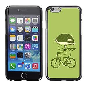 Qstar Arte & diseño plástico duro Fundas Cover Cubre Hard Case Cover para Apple (5.5 inches !!!) iPhone 6 Plus ( Bicycle Green Lifestyle Turtle Eco Art Helmet)