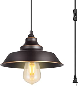 Indoor Pendant Lamp, Retro Black Finish with manually Golden Highlights,1-Light Ceiling Pendant Light,Hanging Light Fixture,Plug in Cord with On/Off Switch