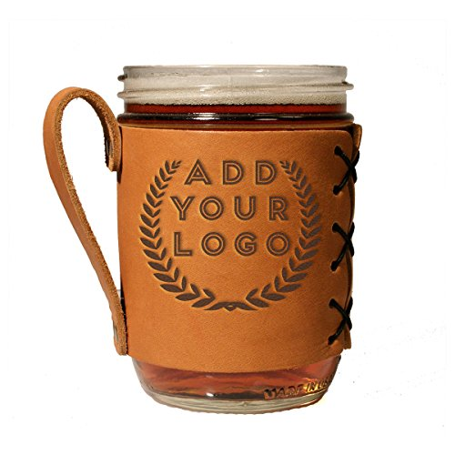 Custom Leather Wide Mason Jar Sleeve with your Personalized