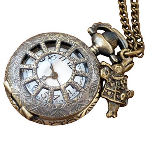 Alice in Wonderland Tea Party Steampunk pocket watch necklace-owm ()