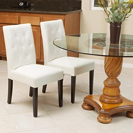 Great Deal Furniture Waldon Ivory Leather Dining Chairs W/Tufted Backrest  (Set Of 2