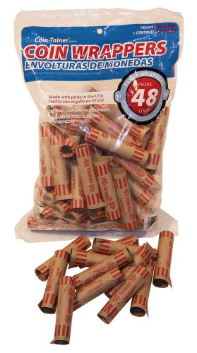 (The Coin-Tainer Co. Preformed Coin Wrappers, Pennies 48 Count Bag (60250-68752))