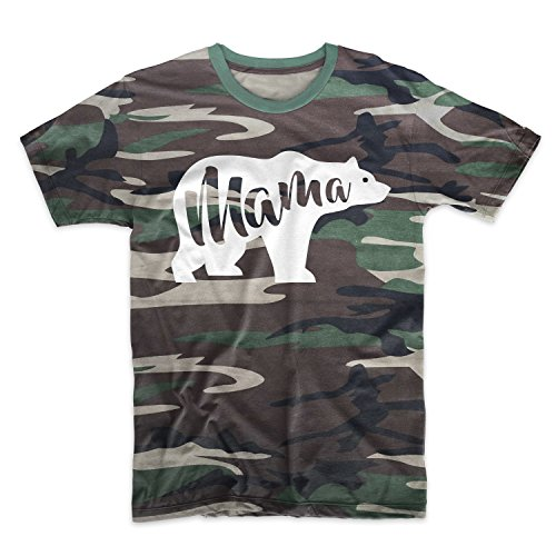 Mama Bear Cool Funny Motivational Camouflage Men's T-Shirt Camo Medium ()