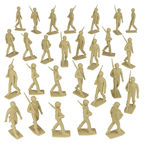 Tan BMC Marx Plastic Army Men Marching US Soldiers Tan 27pc WW2 Figures