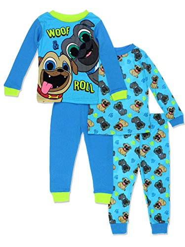 - Disney Puppy Dog Pals Toddler Boys 4 Piece Cotton Pajamas Set (4T, Blue/Green)