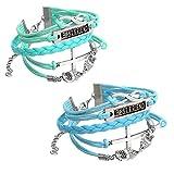 JOVIVI Multilayer Charm Infinity Love Best Friend Wish Wrap Cuff Bracelet ,2pc (Deep Blue&Light Blue)