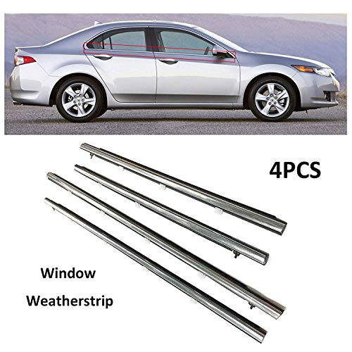 - MotorFansClub 4PCS Window Seal for Honda Acura Sedan TSX 2009-2012 2013 2014 Weatherstrip, Chrome Door Outside Trim Seal Belt