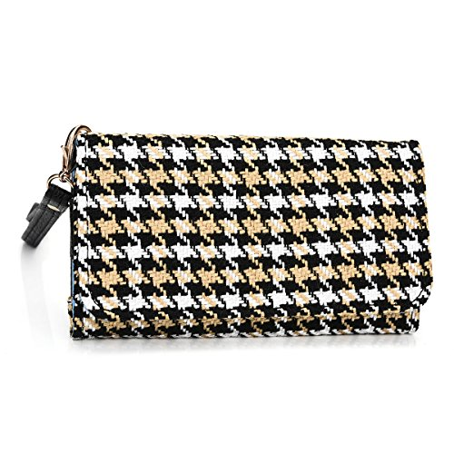 Kroo Clutch Wristlet Wallet Case for Smartphones up to 5.7-Inch - Non-Retail Packaging - Black Houndstooth and Black