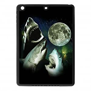 IPad Air Case,Terrifying Sharks Moon With Wide Opened Mouth And Sharp Teeth Hign Definition Unique Design Cover With Hign Quality Rubber Plastic Protection Case