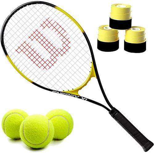 ウィルソン エナジー XL プレストリング レクリエーション テニスラケットセットまたはキット オーバーグリップ3個パック ITF規定テニスボール缶