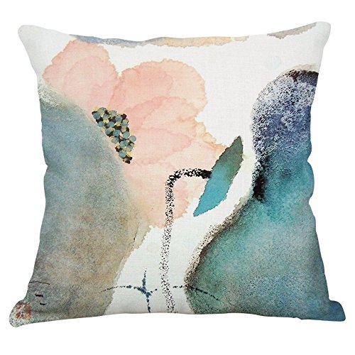 Lotus Cushion Cover - YeeJu Lotus Plant Decorative Throw Pillow Covers Cotton Linen Square Cushion Covers Outdoor Couch Sofa Home Pillow Covers 20x20 Inch