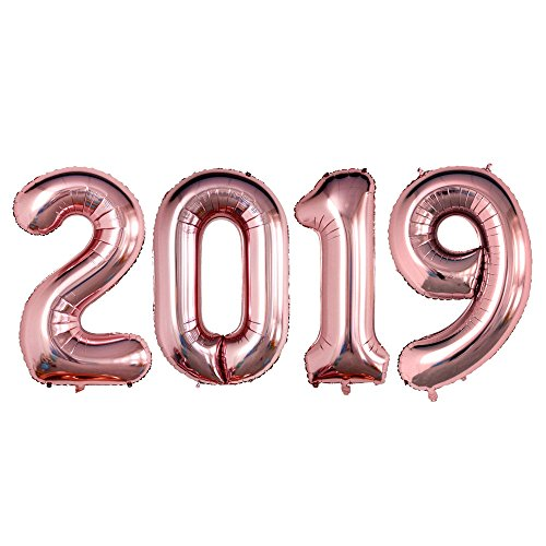 GOER 42 Inch Rose Gold 2019 Number Foil Balloons,2019 Graduation Decorations New Year Eve Festival Party -