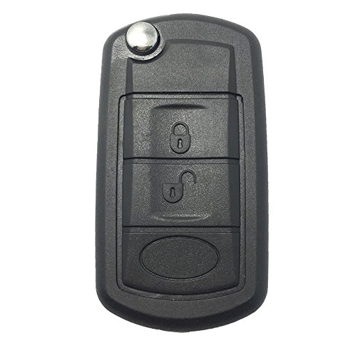 Replacement Key Fob Case Shell for Land Rover Discovery LR3 Range Rover Sport Flip Folding Keyless Entry Remote Car Key Fob Cover with Uncut Blade Blank (Range Rover Sport Supercharged 2008)