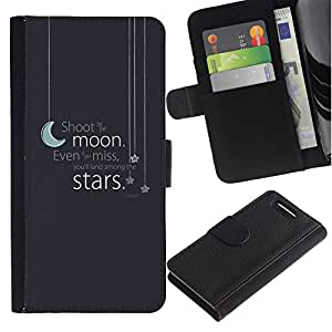 Stuss Case / Funda Carcasa PU de Cuero - Moon Stars texto gris azul sue?o de la noche - Sony Xperia Z3 Compact
