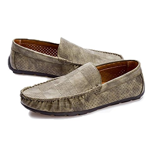 WZG huecas zapatos transpirables zapatos de los guisantes de los hombres conjuntos pie Tipo zapatos de los hombres zapatos casuales estaciones Grey